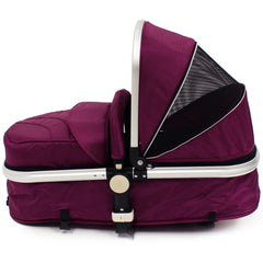 iSafe 3 in 1  Pram System - Plum (Purple) Travel System + Carseat + Bedding - Baby Travel UK  - 16