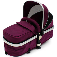 iSafe 3 in 1  Pram System - Plum (Purple) Travel System + Carseat + Bedding - Baby Travel UK  - 14