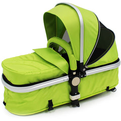iSafe 3 in 1  Pram System - Lime Carseat Isofix Base + Footmuff & Raincover Package - Baby Travel UK  - 15