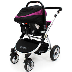 iSafe 3 in 1  Pram System - Plum (Purple) + Carseat + Footmuff & Raincover Package - Baby Travel UK  - 15