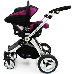iSafe 3 in 1  Pram System - Plum (Purple) + Carseat + Footmuff & Raincover Package - Baby Travel UK  - 14