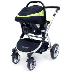 iSafe 3 in 1  Pram System - Lime Carseat Isofix Base + Footmuff & Raincover Package - Baby Travel UK  - 19