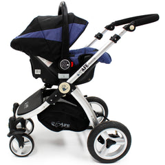 iSafe 3 in 1  Pram System - Navy (Dark Blue) + Carseat + Isofix Base + Footmuff & Raincover Package - Baby Travel UK  - 6