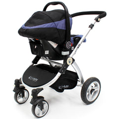 iSafe 3 in 1  Pram System - Navy (Dark Blue) + Carseat + Isofix Base + Footmuff & Raincover Package - Baby Travel UK  - 7