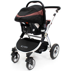 iSafe 3 in 1  Pram System - Hot Chocolate With Carseat, Isofix Base, Footmuff & Raincover - Baby Travel UK  - 10