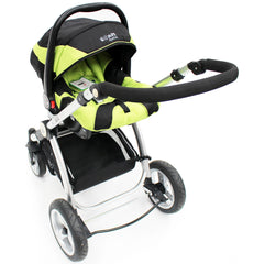 iSafe 3 in 1  Pram System - Lime + Carseat + Footmuff & Raincover Package - Baby Travel UK  - 14