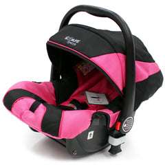 iSafe 3 in 1  Pram System - Raspberry Pink + Carseat Isofix Base + Footmuff & Raincover Package - Baby Travel UK  - 7