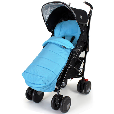 XXL Large Luxury Foot-muff And Liner For Maclaren Techno XT - Ocean (Blue)