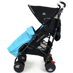 XXL Large Luxury Foot-muff And Liner For Maclaren Techno XT - Ocean (Blue) - Baby Travel UK  - 3
