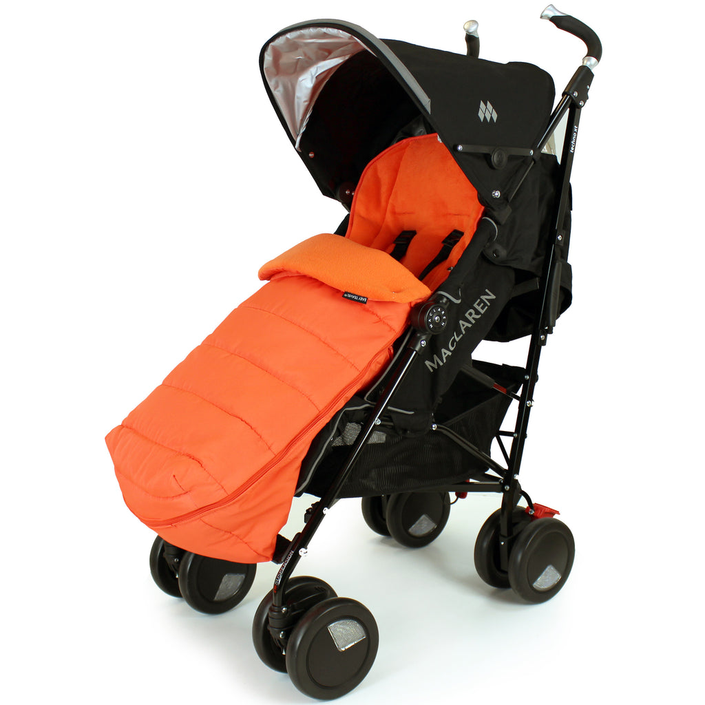 XXL Large Luxury Foot-muff And Liner For Maclaren Techno XT - Orange (Orange) - Baby Travel UK  - 1