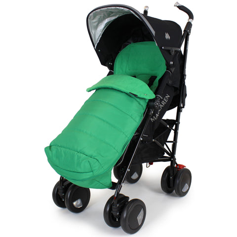 XXL Large Luxury Foot-muff And Liner For Maclaren Techno XT - Leaf (Green)