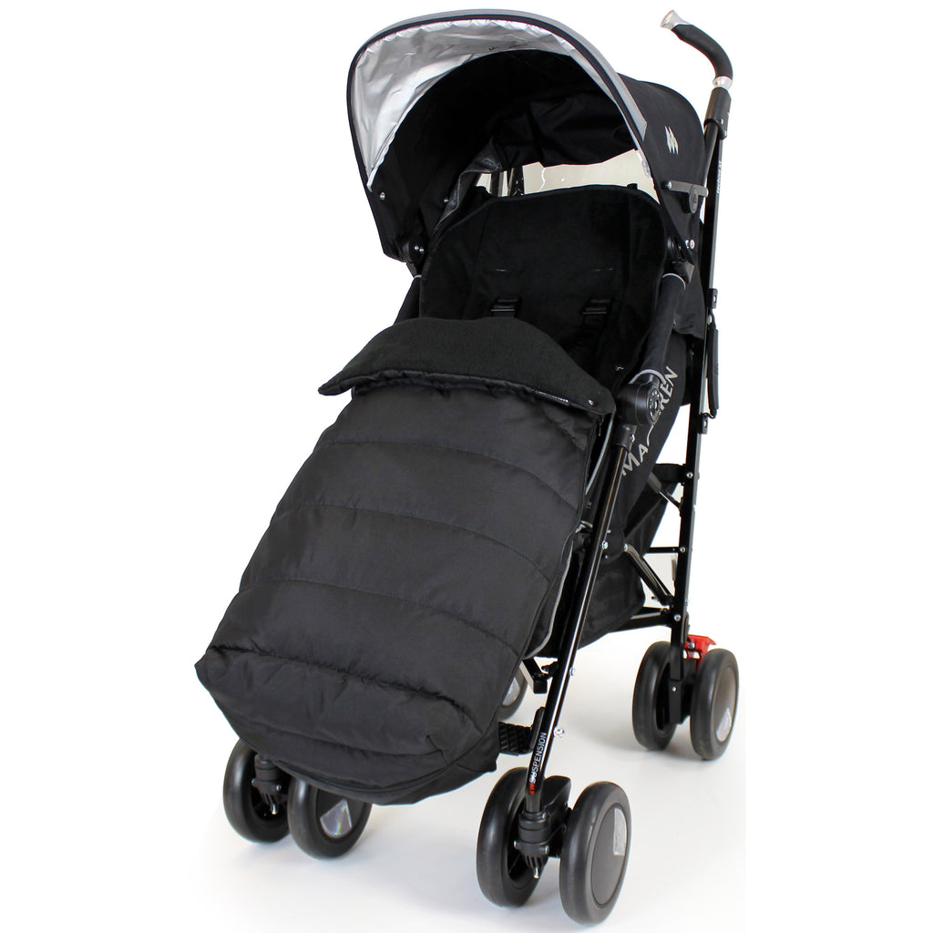 XXL Large Luxury Foot-muff And Liner For Maclaren Techno XT - Black (Black) - Baby Travel UK  - 1