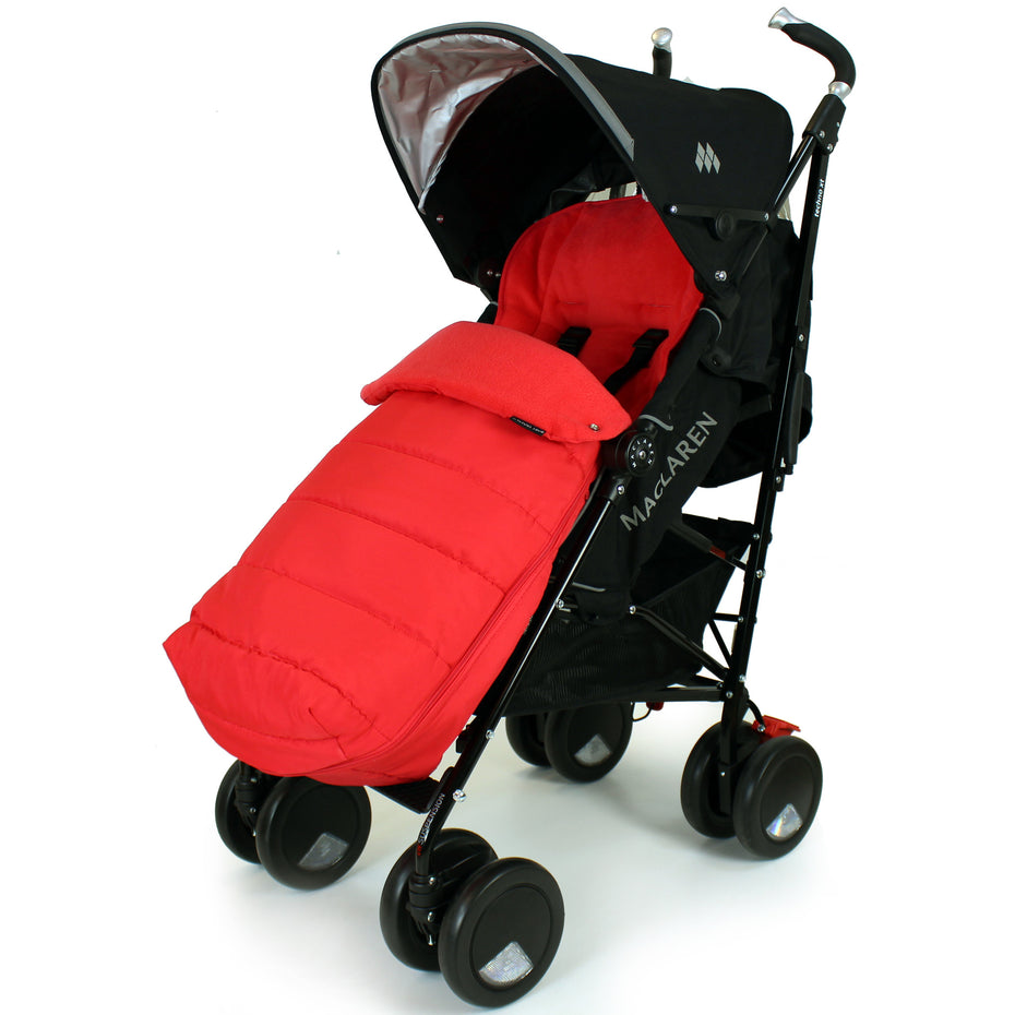 f5b5c4df354 XXL Large Luxury Foot-muff And Liner For Maclaren Techno XT - Warm Red (