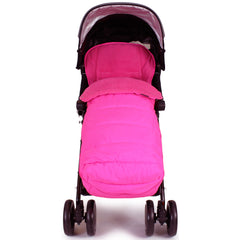 Luxury Padded Footmuff Liner - Raspberry Pink Fit Maclaren Quest Triumph Techno - Baby Travel UK  - 3