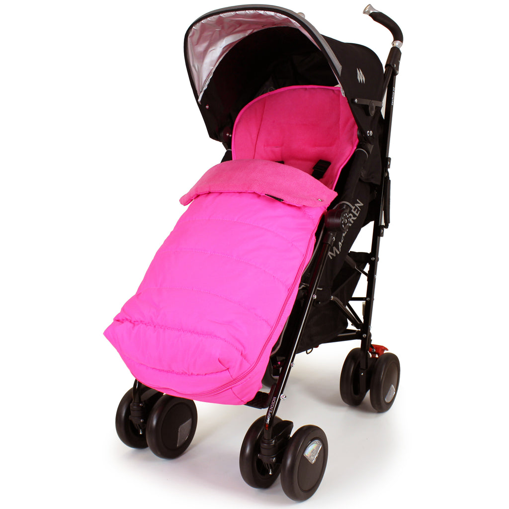 XXL Large Luxury Foot-muff And Liner For Maclaren Techno XT - Raspberry (Pink) - Baby Travel UK  - 1