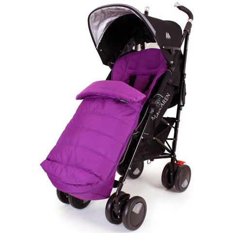 XXL Large Luxury Foot-muff And Liner For Maclaren Techno XT - Plum (Purple)
