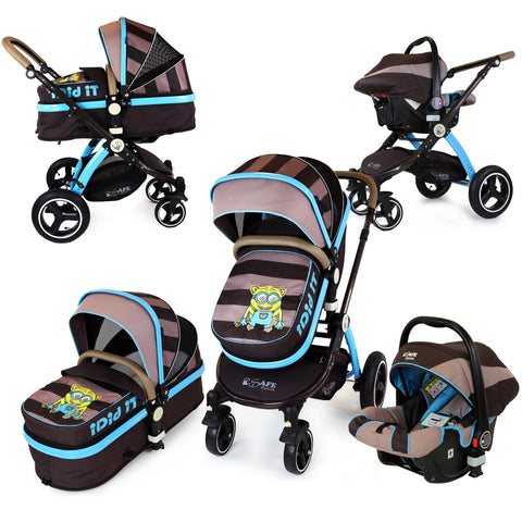 iSafe 3 in 1 Pram System - i DiD iT Trio Travel System Pram & Luxury Stroller 3 in 1 Complete With Car Seat