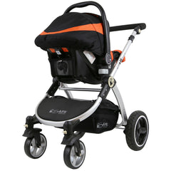 i-Safe System - Orange Trio Travel System Pram & Luxury Stroller 3 in 1 Complete With Car Seat + Rain Covers - Baby Travel UK  - 12