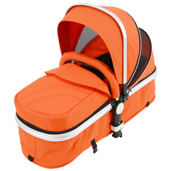 i-Safe System - Orange Trio Travel System Pram & Luxury Stroller 3 in 1 Complete With Car Seat + Rain Covers - Baby Travel UK  - 2