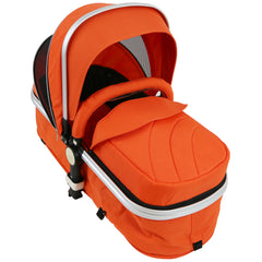 i-Safe System - Orange Trio Travel System Pram & Luxury Stroller 3 in 1 Complete With Car Seat + Rain Covers - Baby Travel UK  - 3