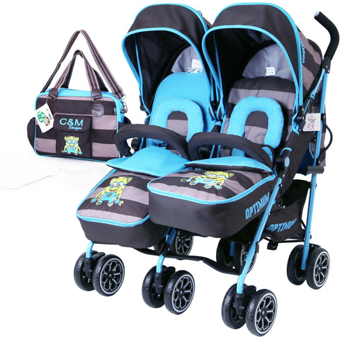 iSafe TWIN OPTIMUM Stroller iDiD iT + Matching Changing Bag