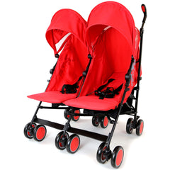Zeta Citi TWIN Stroller Buggy Pushchair - Warm Red Double Stroller Complete With FootMuffs - Baby Travel UK  - 2