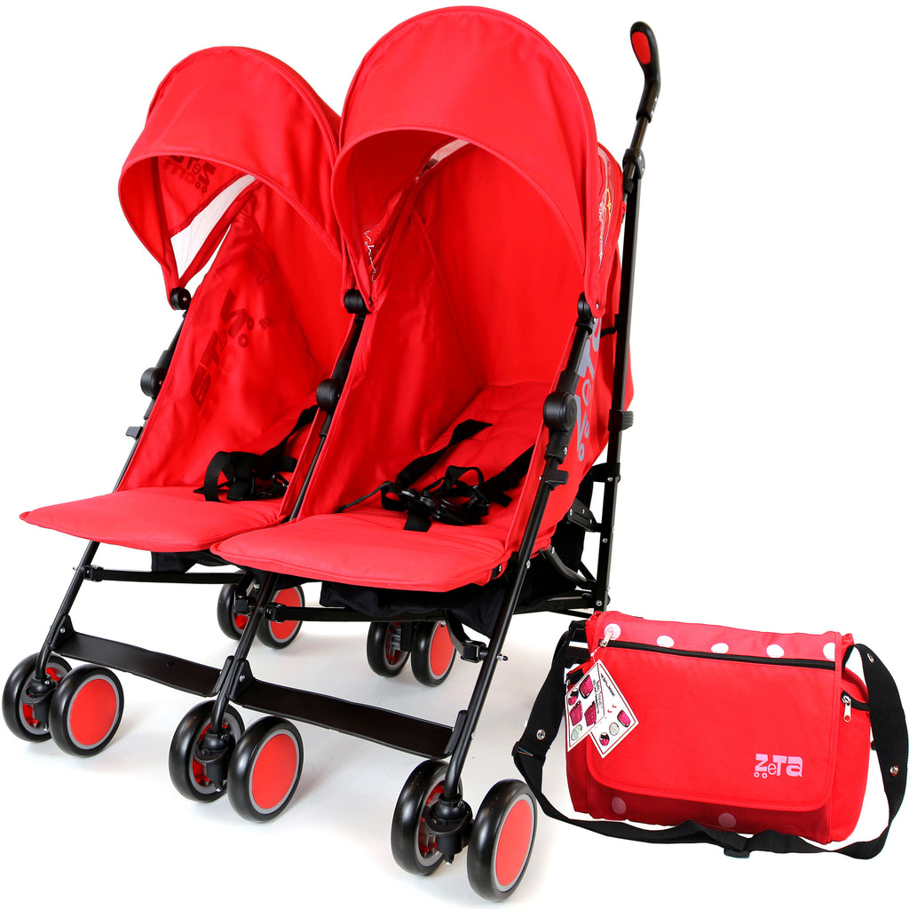 Zeta Citi TWIN Stroller Buggy Pushchair - Warm Red Double Stroller With Bag - Baby Travel UK  - 1