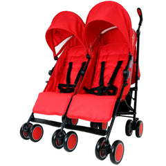 Zeta Citi TWIN Stroller Buggy Pushchair - Warm Red Double Stroller Complete With FootMuffs - Baby Travel UK  - 3