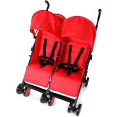 Zeta Citi TWIN Stroller Buggy Pushchair - Warm Red Double Stroller With Bag - Baby Travel UK  - 4