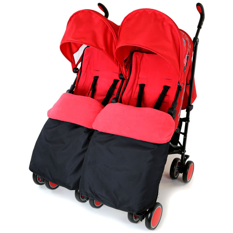 Zeta Citi TWIN Stroller Buggy Pushchair - Warm Red Double Stroller Complete With FootMuffs