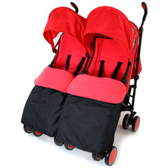 Zeta Citi TWIN Stroller Buggy Pushchair - Warm Red Double Stroller Complete With FootMuffs - Baby Travel UK  - 1