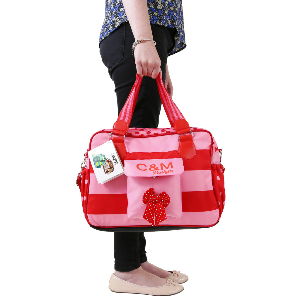iSafe Changing Bag Luxury Quality (New Design ) - Bow Dots - Baby Travel UK  - 2