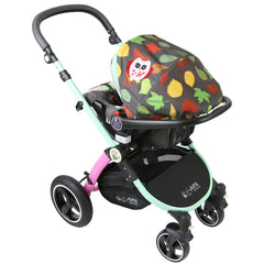 i-Safe System - Owl & Button Trio Travel System Pram & Luxury Stroller 3 in 1 Complete With Car Seat And Rain Covers & Foot Muffs - Baby Travel UK  - 15