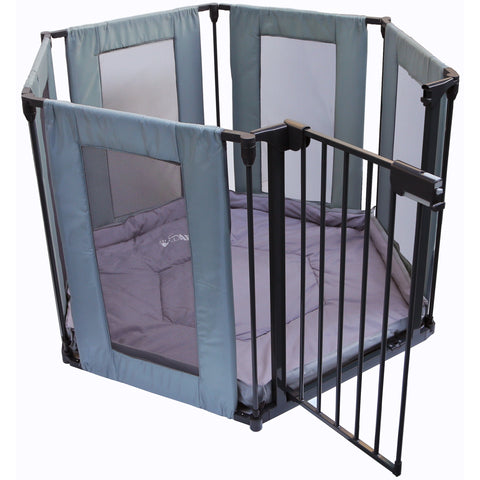 SALE!!! iSafe FABRIC Metal Baby Playpen 3in1 FireGuard Room Divider Safety Gate