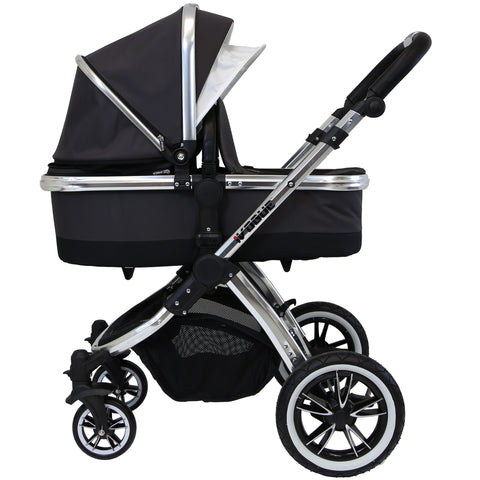 iVogue Luxury 2in1 Pram Stroller Travel System Silver Shadow inc Changing Bag and Raincover