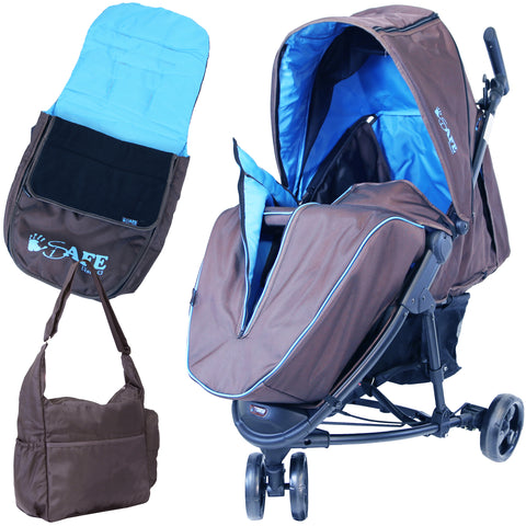 iSafe Visual 3 Wheeler Compact Baby Stroller Blue Complete Package