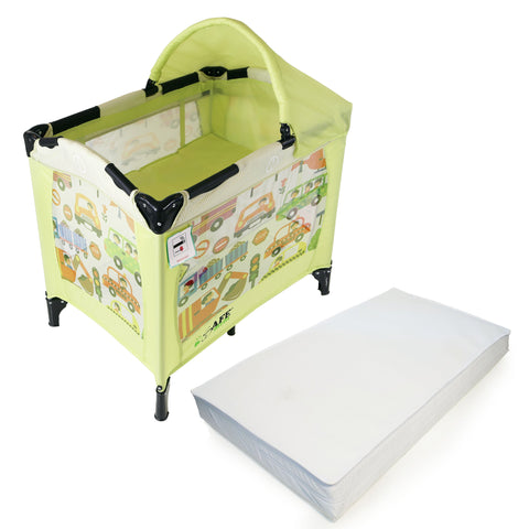 iSafe Mini Travel Cot With Bassinet and Canopy - City Break 81 x 56 x 84 cm Complete With Mattress