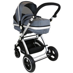 i-Safe System - Grey Trio Travel System Pram & Luxury Stroller 3 in 1 Complete With Car Seat + Footmuff + Carseat Footmuff + Rain Covers - Baby Travel UK  - 5