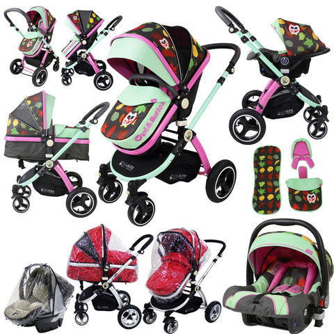 i-Safe System - Owl & Button Trio Travel System Pram & Luxury Stroller 3 in 1 Complete With Car Seat And Rain Covers