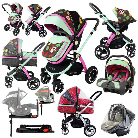 i-Safe System - Owl & Button Trio Travel System Pram & Luxury Stroller 3 in 1 Complete With Car Seat, Base And Rain Covers