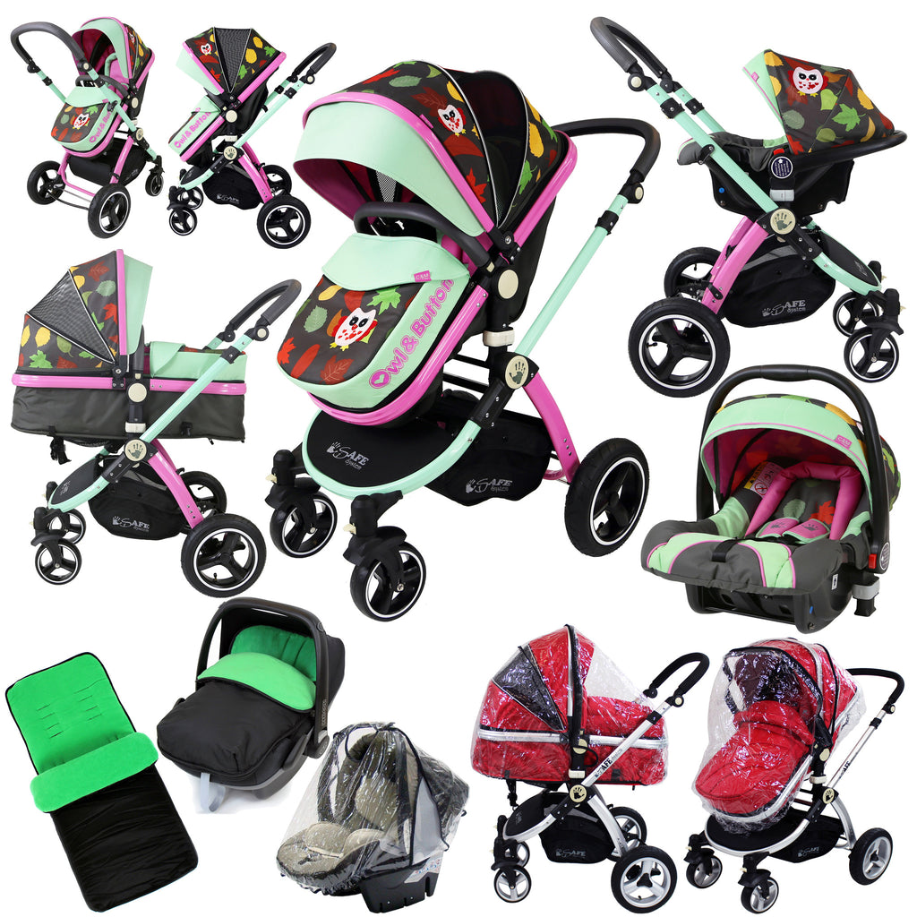 i-Safe System - Owl & Button Trio Travel System Pram & Luxury Stroller 3 in 1 Complete With Car Seat And Rain Covers & Foot Muffs - Baby Travel UK  - 1