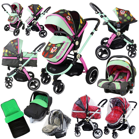 i-Safe System - Owl & Button Trio Travel System Pram & Luxury Stroller 3 in 1 Complete With Car Seat And Rain Covers & Foot Muffs