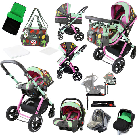 i-Safe System - Owl & Button Trio Travel System Pram & Luxury Stroller 3 in 1 Complete With Car Seat, Base, Bag, Rain Covers & Foot Muffs