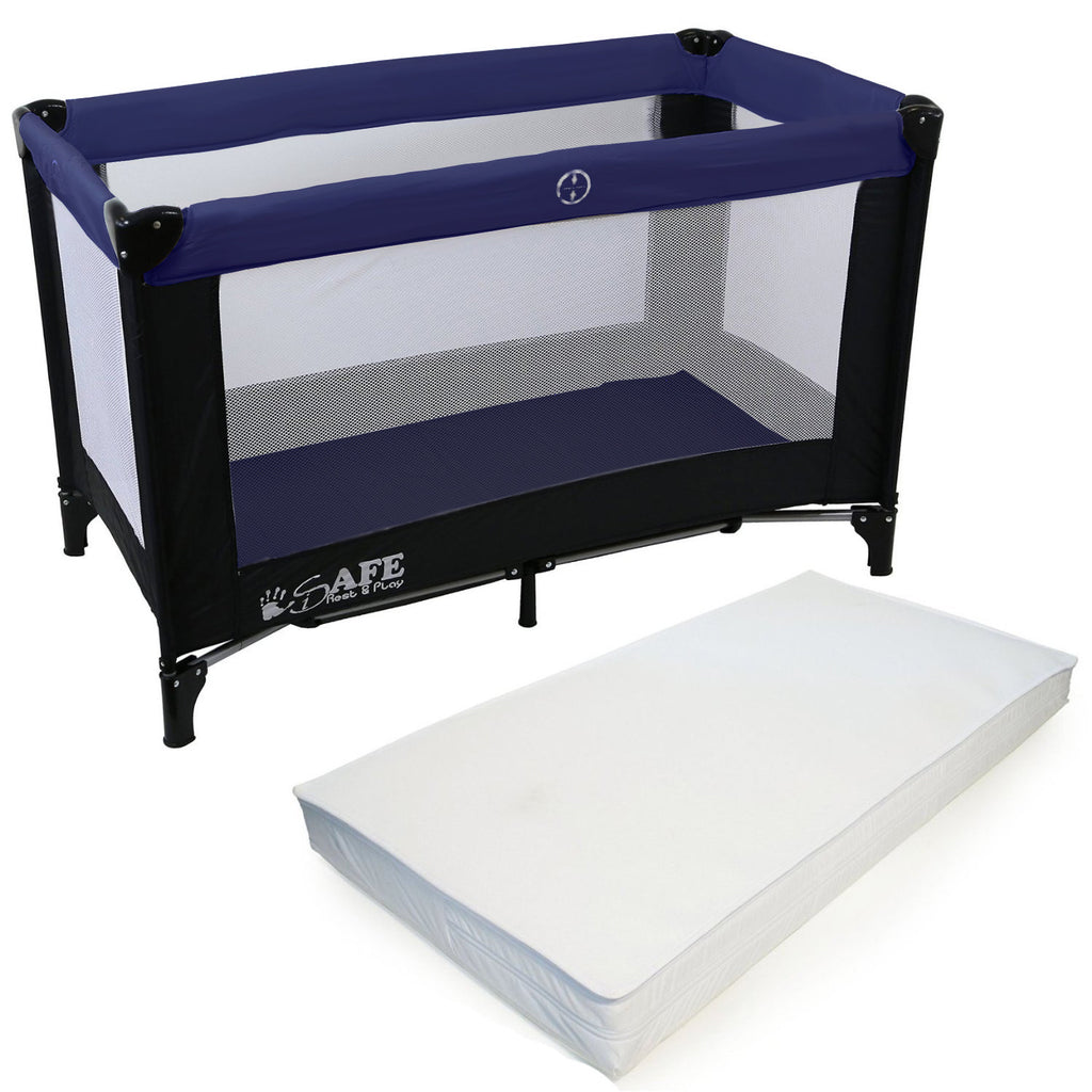 iSafe Rest & Play Luxury Travel Cot/Playpen - Navy (Black/Navy) 120 cm x 60 cm Complete With Mattress - Baby Travel UK  - 1