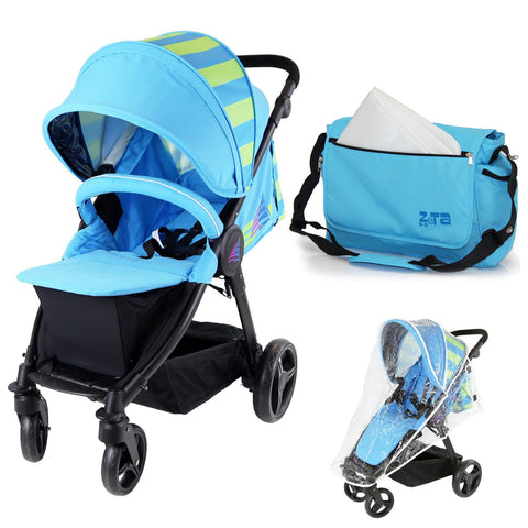Sail Stroller - Ocean Lime Includes Bumper Bar Rain cover Bootcover & Bag