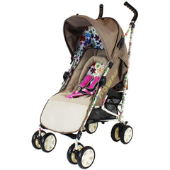 iSafe  - Flowers Stroller Buggy Pushchair Complete With Foot Muff And Head Huger - Baby Travel UK  - 2