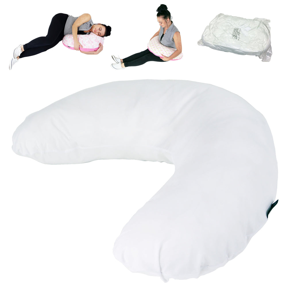 iSafe Pregnancy Maternity And Feeding Pillow - White + Vacuum Storage Bag + Pillow Case - Baby Travel UK  - 1