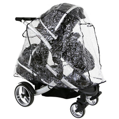 iSafe Tandem Pram me&you - Black (Black) + All Raincovers - Baby Travel UK  - 8