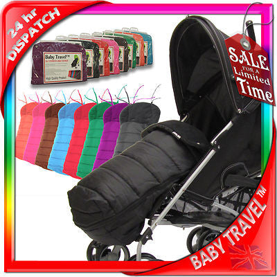 Black Universal Pushchair Stroller Buggy Footmuff - Baby Travel UK  - 1