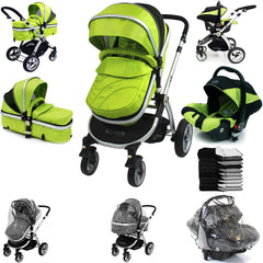 iSafe Complete 3in1 Trio Travel System Pram & Luxury Stroller - Lime - Baby Travel UK  - 2